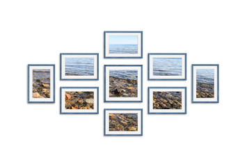 Frames  with seaside pictures collage , nine blue realistic wooden frameworks isolated on white background