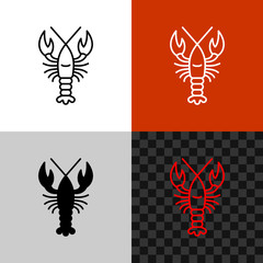 Lobster icon. Simple line lobster or crayfish.
