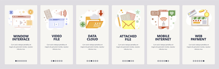 Web site onboarding screens. Data cloud sync, media files and mobile internet. Menu vector banner template for website and mobile app development. Modern design flat illustration.