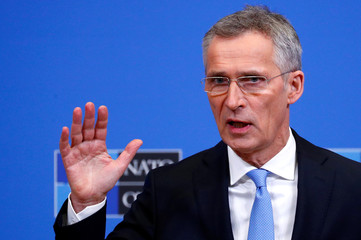 NATO Secretary General Stoltenberg addresses a news conference during a NATO defence ministers meeting in Brussels