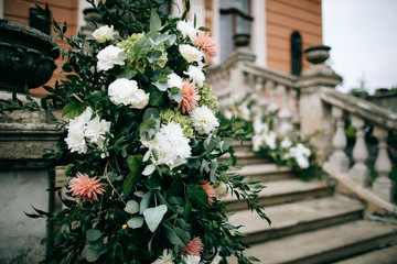 Flower decorations of the wedding ceremony on outdoor