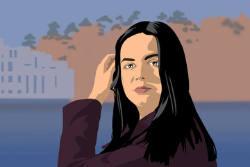 Cartoon illustration of an attractive handsome young woman with long black hair in sunlight