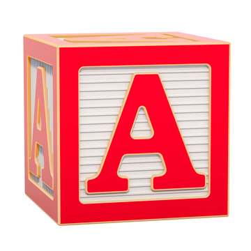 ABC Alphabet Wooden Block with A letter. 3D rendering