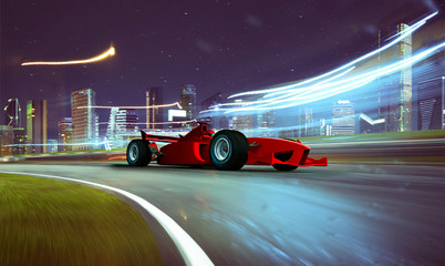 Sport racing car fast driving to achieve the champion dreame , motion blur and lighting effect apply . 3D rendering and mixed media composition