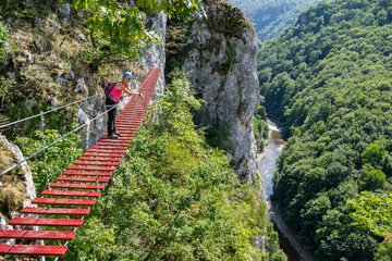 Female tourist on a via ferrata bridge in Vadu Crisului, Padurea Craiului mountains, Romania, with the Crisul Repede defile/gorge meandering below.