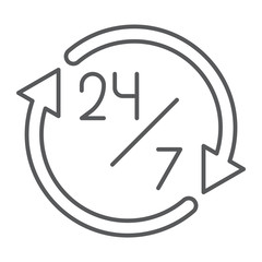 Twenty four hour thin line icon, open and service, 24 hours sign, vector graphics, a linear pattern on a white background.