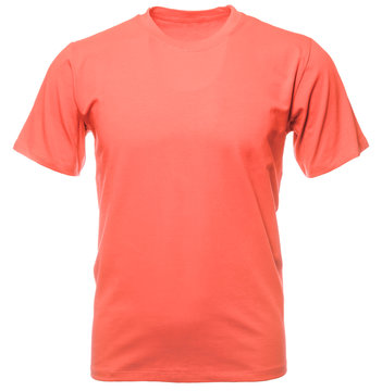 Living coral 2019 trendy color shortsleeve tshirt on invisible mannequin isolated