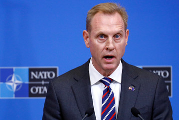 Acting U.S. Secretary of Defense Shanahan holds a news conference during a NATO defence ministers meeting in Brussels