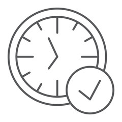 In-time thin line icon, watch and countdown, clock sign, vector graphics, a linear pattern on a white background.