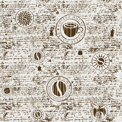 Vector seamless pattern on the coffee theme with a various coffee symbols, blots and inscriptions on a background of old manuscript in retro style. Can be used as wallpaper or wrapping paper