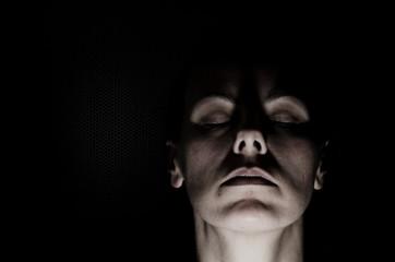 Woman Face Illuminated.