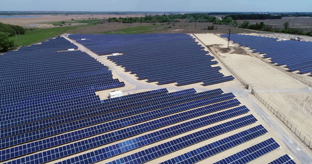 aerial view of solar panels in solar farm