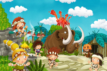 Spoed Foto op Canvas Zoo cartoon cavemen village scene with mammoth and volcano in the background - illustration for children