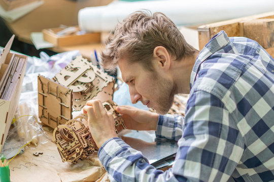 young master assemble laser carved toy wood mechanism b
