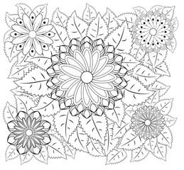 Fantasy flowers coloring page. Hand drawn doodle. Floral patterned illustration. African, indian, totem, tribal, zentangle design. Sketch