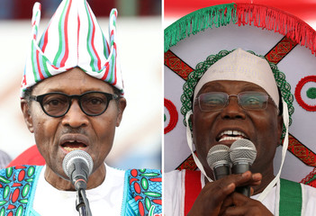 A combo picture shows Nigeria's President Muhammadu Buhari and main opposition party presidential candidate Atiku Abubakar addressing supporters during campaign rallies ahead of the country's presidential election in Lagos
