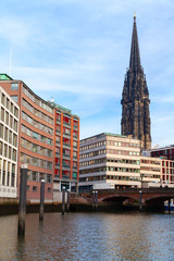Hamburg view with St Nicholas Church