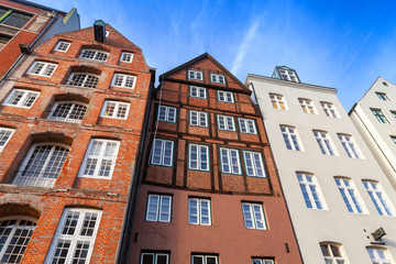 Old living houses in Altstadt, Hamburg