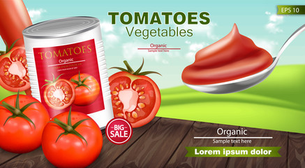 Canned tomatoes Vector realistic mock up. Product placement. 3d detailed illustrations