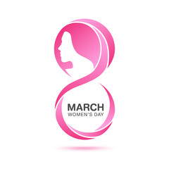 March 8 Women's day design element on white background. For invitation, greeting card, booklet, leaflet, magazine, brochure.