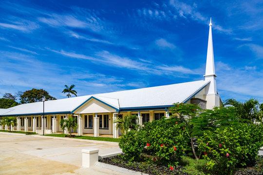 Typical Mormon church. The Church of Jesus Christ of Latter-day Saints in rural Oceania. Hihifo road, Teekiu village, Tongatapu island, Tonga, Polynesia, South Pacific Ocean