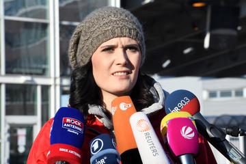 Sophia Kielhorn, head of works council Airbus Hamburg, addresses media in front of the Airbus plant in Hamburg