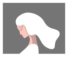 The girl in profile in the photo frame. White-haired girl. Vector illustration.