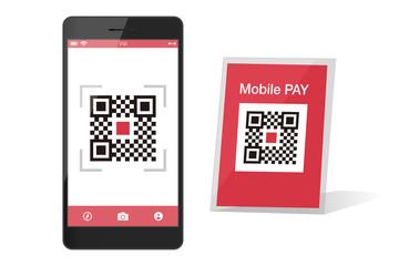 スマホ決済QRアプリのスマートフォンイメージイラスト素材