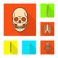 Vector design of bone and skeleton logo. Collection of bone and human vector icon for stock.