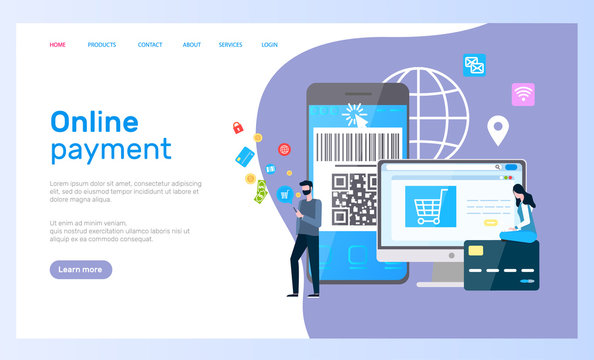 Online payment web page, computer and smartphone vector. Internet shopping at app or website, credit card and barcode, customers and transactions