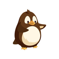 Penguin looking in distance and walking isolated icon vector. Animal with wings and beak, white and brown feathers. Antarctic winter cheerful character