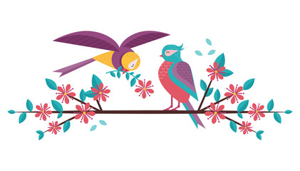 Cartoon spring birds couple in love on blooming tree brunch. Boy bird giving flower to girlfriend sitting on blossom cherry flowers twig. Romantic greeting banner for Valentine day.