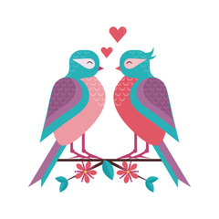 Cartoon spring birds couple in love on blooming tree brunch. Boy bird and girlfriend sitting on blossom cherry flowers twig. Romantic greeting card for Valentine day.