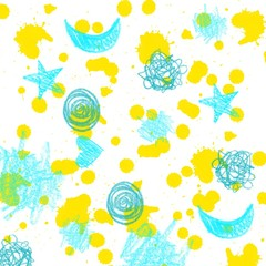 White background with yellow paints splashes, blue signs, strokes. Backdrop in kids drawing style. Space, cosmos. Sunny splashes, stars, moon, hearts, clouds. Original design for fabric, furnishing