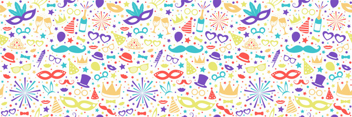Carnival Party seamless pattern with funny elements. Vector.