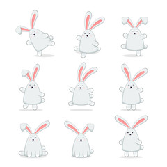 Set of Happy Easter Rabbits on White Background