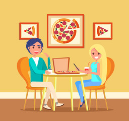 Couple on date in pizza restaurant at table vector. Italian food, girl and guy drink coffee and lemonade, cafe interior and furniture, picture on wall