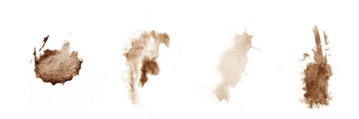 brown coffee splashes on white watercolor paper.