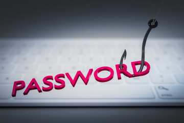phishing password data with keyboard and hook symbol