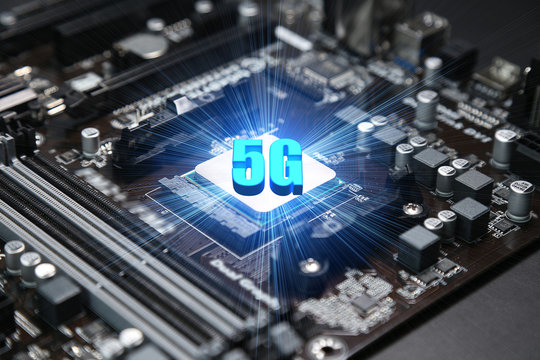 CPU chipset on computer mainboard ,5G concept