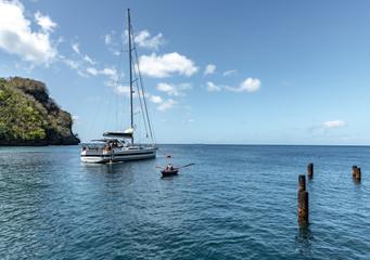 Saint Vincent and the Grenadines, Walllilabou bay, sailboat
