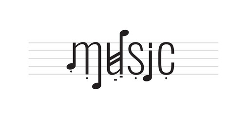 music logo. music word and note vector