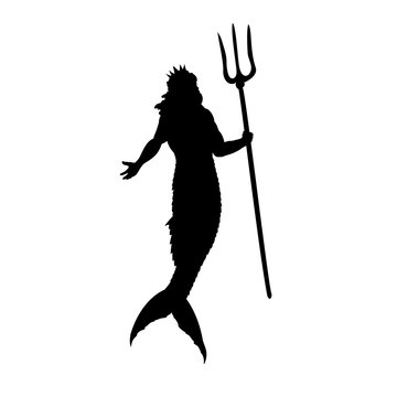 Poseidon Neptune god silhouette mythology fantasy. Vector illustration.