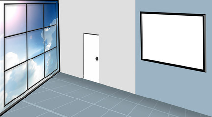 Indoor room illustration virtual like drawn from the top most perspective with frames and doors on the wall.