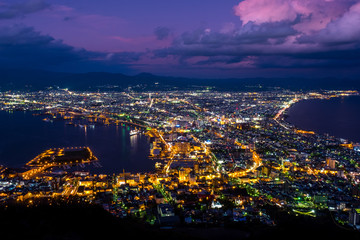 Mount Hakodate, from sunset twilight became night time, Mount Hakodate at night the sky turn from purple to dark. Good for background and nice viewing spot in Hokkaido in Japan
