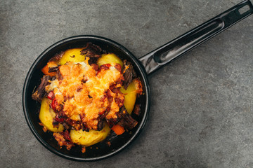 Casserole in a cooking pan