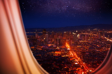 USA town night panorama view from plane window
