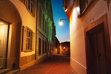 Beautiful lightening of Basel old city street
