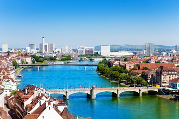 Basel panorama with Middle bridge over Rhine river