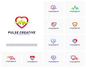 Set of Love Medical Pulse logo design concept.Healthcare Pulse logo template vector. Icon Symbol